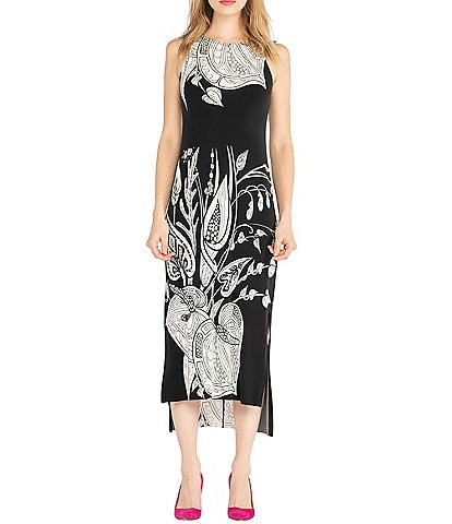 Eva Varro Floral Placement Printed Knit Hi-Low Side Slit Midi Tank Dress