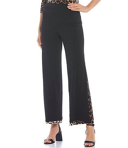 Eva Varro High Waist Solid Knit Leopard Print Leg Inset Coordinating Pants