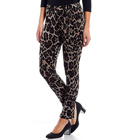 Eva Varro Leopard Print Pebble Textured Knit Mid-Rise Skinny Leg Pull-On Pants
