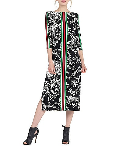 Eva Varro Placement Stripe Paisley Print Knit Side Slit Midi Dress