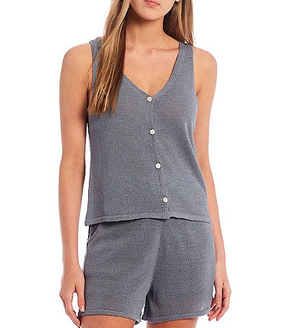 Every Button Front V-Neck Knit Tank