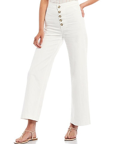 Every Button Front Wide Leg Relaxed Jeans