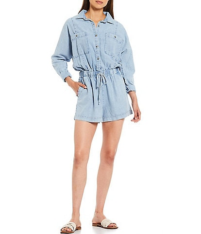 Every Chambray Roll Sleeve Button Down Tie Waist Romper