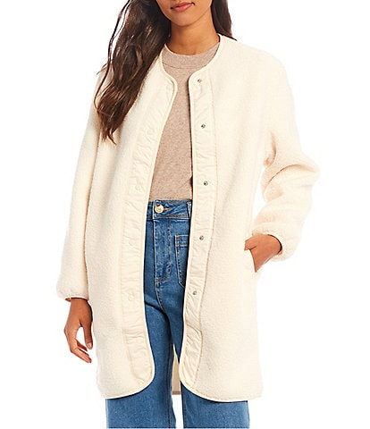 Every Crew Neck Snap Front Long Sleeve Sherpa Cozy Jacket