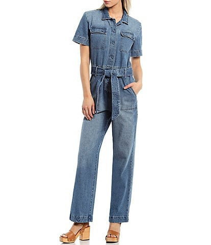 Every Denim Short Sleeve Button Front Collared Jumpsuit