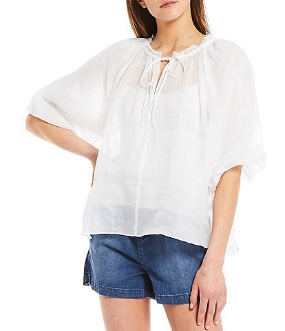 Every Elbow Sleeve Peasant Top