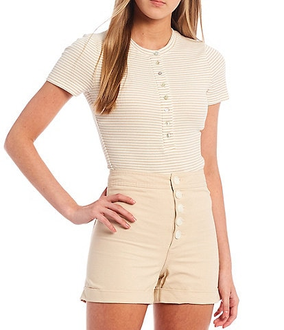 Every Henley Button Front Short Sleeve Bodysuit