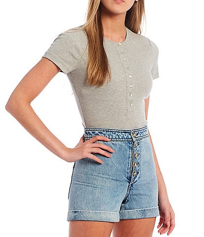 Every Henley Short Sleeve Button Front Bodysuit