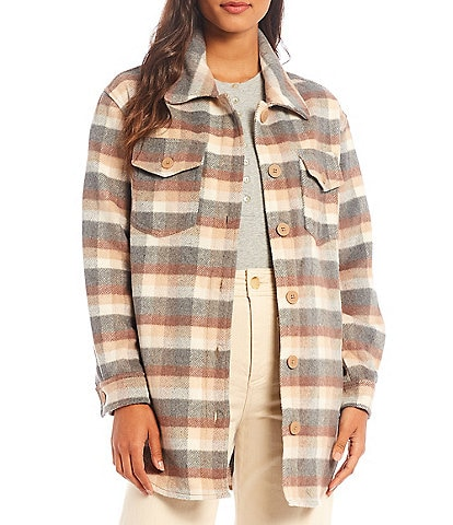 Every Long Sleeve Collared Button Front Plaid Shirt Jacket