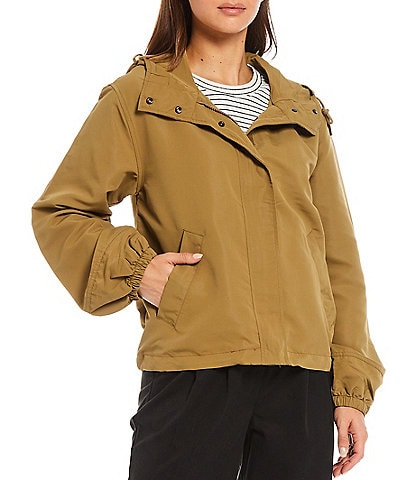 Every Long Sleeve Snap Front Hooded Raincoat with Zipper