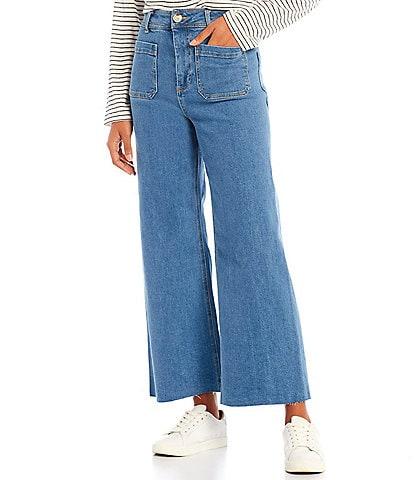Every Patch Pocket High Rise Frayed Hem Wide Leg Jeans