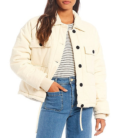 Every Point Collar Long Sleeve Button-Front Puffer Jacket