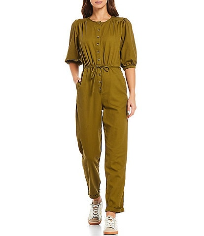 Every Henley Neck Button Front Elbow Puff Short Sleeve Jumpsuit