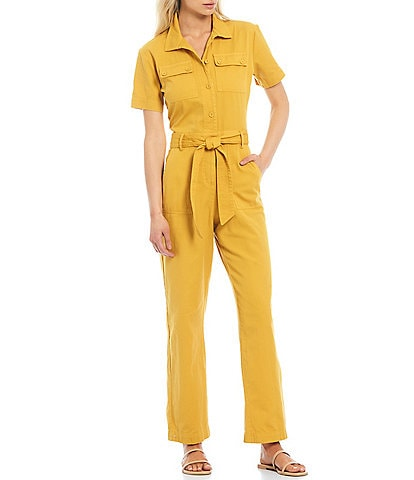 Every Short Sleeve Belted Point Collar Jumpsuit