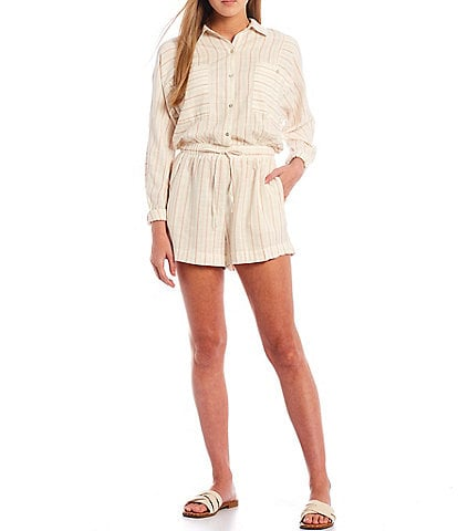 Every Stripe Long Sleeve Button Front Romper