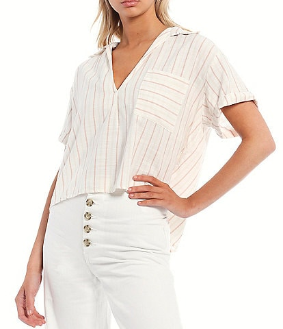Every Stripe Pocket Cropped Button Front Top