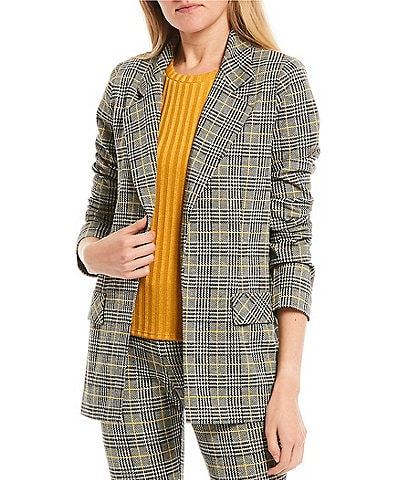 Evolutionary Coordinating Open-Front Plaid Print Double Knit Jacket