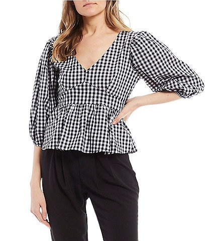 Evolutionary Elbow-Sleeve V-Neck Gingham Print Woven Top