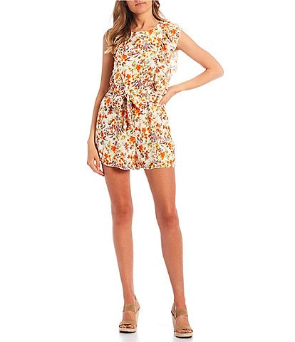 Evolutionary Floral Print Ruffle Romper