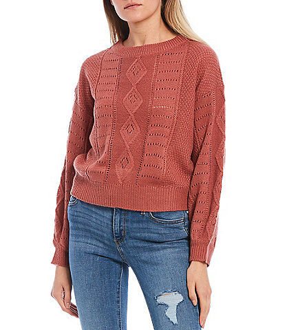 Evolutionary Long Sleeve Cable Knit Sweater