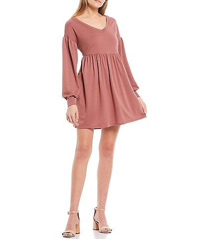 Evolutionary Long Sleeve Knit Babydoll Dress
