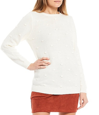 Evolutionary Long-Sleeve Popcorn Dotted Tunic Sweater