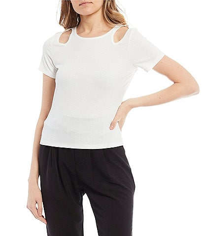 Evolutionary Short-Sleeve Cut-out Knit Top