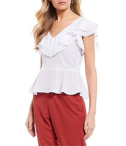 Evolutionary V-Neck Ruffle Blouse