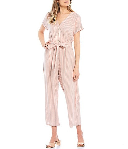 Evolutionary V-Neck Striped Jumpsuit