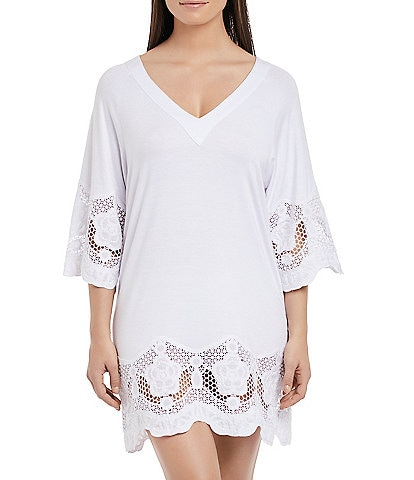 Fantasie Dione Tunic Scallop Hem V-Neck 3/4 Sleeve Cover Up