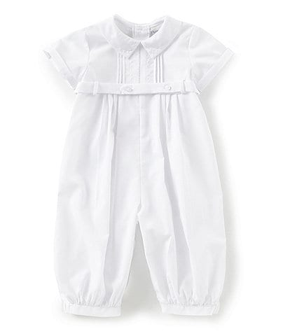 Feltman Brothers Baby Boys 3-9 Months Pleated Dot Short Sleeve Coverall