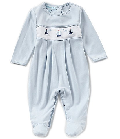 Feltman Brothers Baby Boys Newborn-9 Months Sailboat Embroidered Coverall