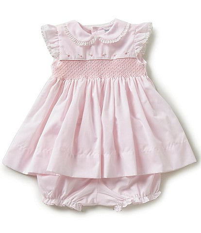 Friedknit Creations Baby Girls 3-9 Months Flutter Sleeve Smocked Dress