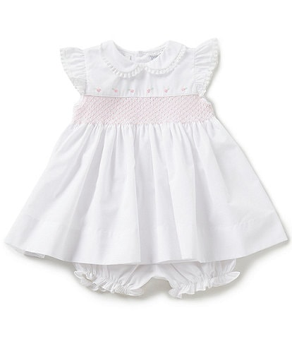 Friedknit Creations Baby Girls 3-9 Months Flutter Sleeve Smocked Dress