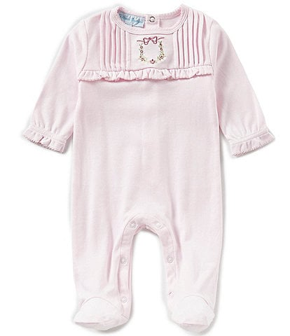 Feltman Brothers Baby Girls Newborn-9 Months Floral Wreath Embroidered Coverall