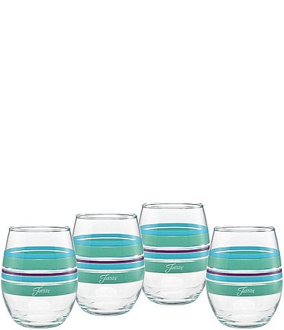 Fiesta Farmhouse Chic Stripe Stemless Wine Glasses, Set of 4