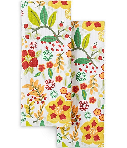 Fiesta Graphic Floral Kitchen Towels, 2-Pack