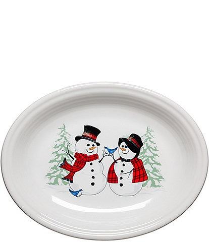 Fiesta Holiday Snowman and Lady Oval Platter