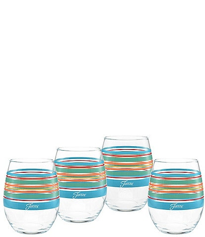 Fiesta Rainbow Radiance Stripe Stemless Wine Glasses, Set of 4