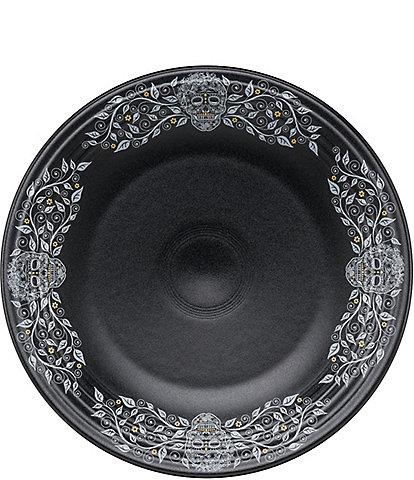 Fiesta Skull & Vine with Border Black Chop Plate