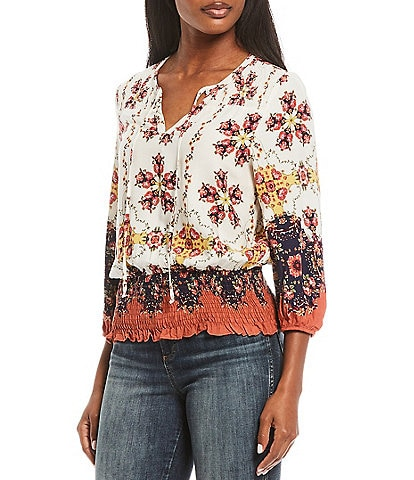 Figueroa & Flower Catherine Floral Border Print Tie-Neck Smocked Hem Top