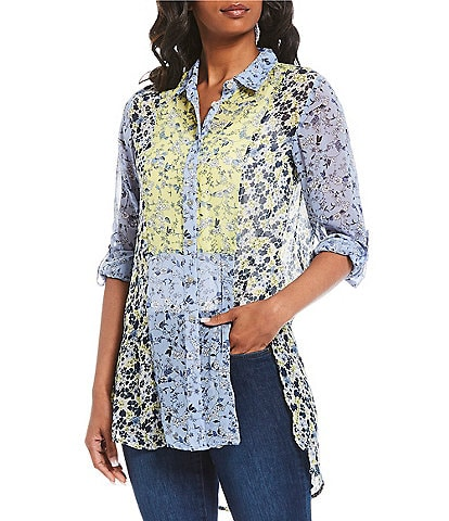 Figueroa & Flower Cosmo Floral Patchwork Mixed Media Roll-Tab Sleeve Button Down Top