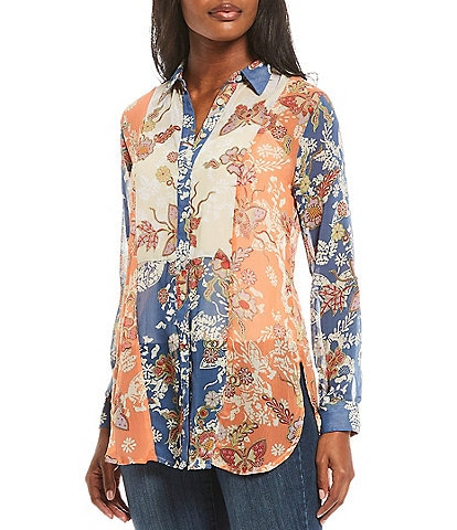 Figueroa & Flower Cosmo Floral Print Mixed Media Roll-Tab Sleeve Button Down Top