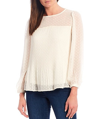 Figueroa & Flower Gloria Clip Dot Released Pleated Popover Long Sleeve Peasant Top