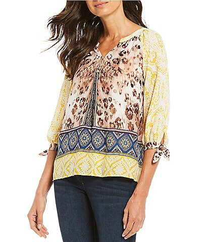 Figueroa & Flower Petite Size Eve Multi Border Print Tie-Sleeve Top