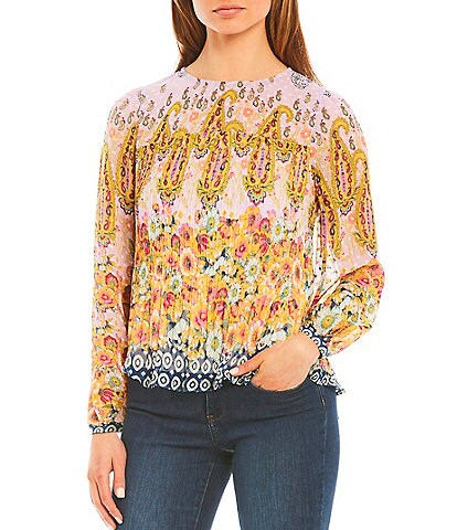Figueroa & Flower Petite Size Gloria Floral Mixed Border Print Scoop Neck Long Sleeve Pleated Top