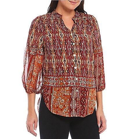 Figueroa & Flower Petite Size Hally 3/4 Sleeve Button Front Peasant Top