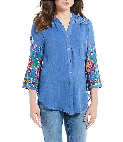 Figueroa & Flower Petite Size Roxy Lace Yoke Floral Embroidered Sleeve Tie-Front Top