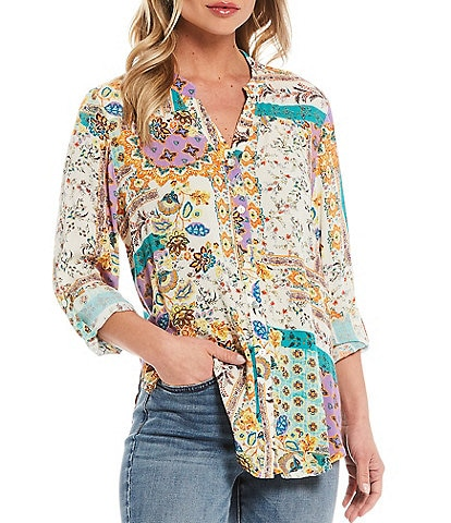 Figueroa & Flower Petite Size Roxy Patchwork Print Roll-Tab Sleeve Button Down Tie-Front Top