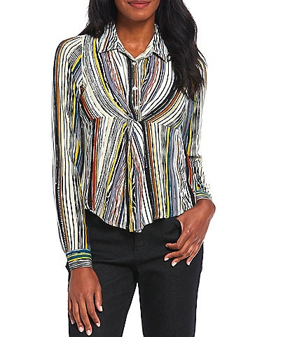 Figueroa & Flower Petite Size Sage Stripe Print Half Button Front Twist Front Detail Point Collar Neck Roll-Tab Long Sleeve Top